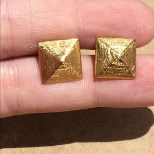 Jewelry - Gold Plated Sterling Silver 925 Pyramid Studs